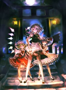 Rating: Safe Score: 25 Tags: flandre_scarlet izayoi_sakuya remilia_scarlet thighhighs touhou wings zrero User: fireattack