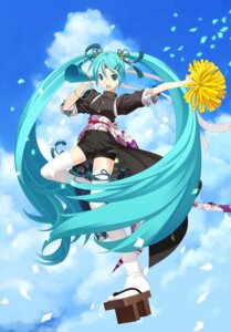 Rating: Safe Score: 21 Tags: cheerleader hatsune_miku japanese_clothes thighhighs vocaloid yuasa_tsugumi User: charunetra