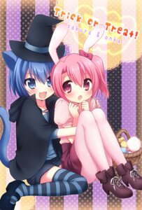 Rating: Safe Score: 25 Tags: animal_ears bunny_ears halloween mani nekomimi onka pantyhose sakura_(mani) tail thighhighs User: Manabi