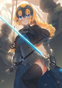 Rating: Safe Score: 55 Tags: armor fate/apocrypha fate/stay_night jeanne_d'arc jeanne_d'arc_(fate) kawai_(purplrpouni) sword thighhighs User: Mr_GT