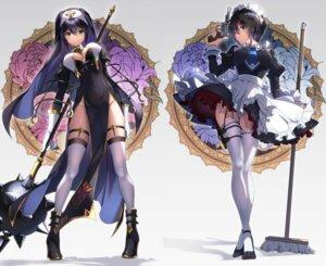 Rating: Questionable Score: 59 Tags: fujiya_takao garter gun heels maid nun pantsu skirt_lift stockings thighhighs weapon User: Dreista