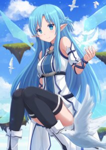 Rating: Questionable Score: 71 Tags: asuna_(sword_art_online) elf gun_gale_online kazenokaze pointy_ears sword_art_online thighhighs wings User: sylver650