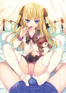 Rating: Explicit Score: 134 Tags: cameltoe feet footjob loli namanie pantsu seifuku skirt_lift thighhighs User: fairyren