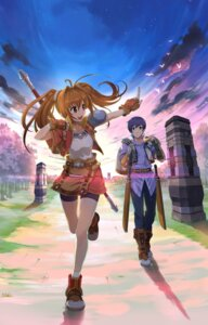 Rating: Safe Score: 20 Tags: armor bike_shorts digital_version eiyuu_densetsu eiyuu_densetsu:_sora_no_kiseki estelle_bright joshua_bright sword weapon User: fireattack