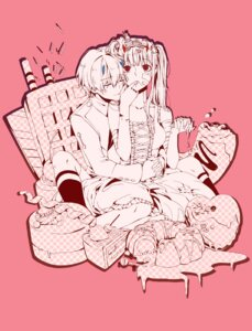 Rating: Safe Score: 8 Tags: bandages bandaid chenaze57 cream darling_in_the_franxx dress hiro_(darling_in_the_franxx) horns monochrome uniform zero_two_(darling_in_the_franxx) User: Михайлович