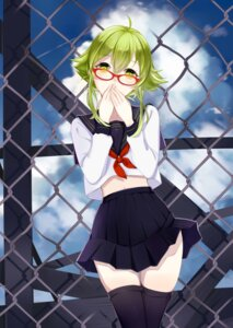 Rating: Safe Score: 37 Tags: gumi maorzshu megane seifuku thighhighs vocaloid User: Mr_GT