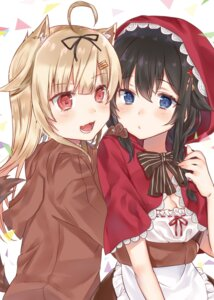 Rating: Safe Score: 14 Tags: animal_ears big_bad_wolf cosplay hoshimiya_nazuna kantai_collection red_riding_hood shigure_(kancolle) tail yuudachi_(kancolle) User: Mr_GT