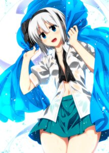 Rating: Questionable Score: 31 Tags: konpaku_youmu open_shirt sazanami_mio see_through touhou wet_clothes User: Mr_GT