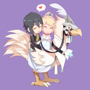Rating: Safe Score: 15 Tags: chibi chocobo cleavage dress final_fantasy_xv lunafreya_nox_fleuret noctis_lucis_caelum yorukun User: mash
