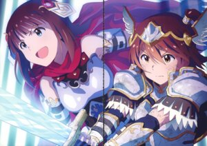 Rating: Safe Score: 11 Tags: amami_haruka armor gap kasuga_mirai sword taku the_idolm@ster the_idolm@ster_million_live! User: fireattack