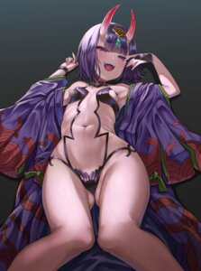 Rating: Questionable Score: 38 Tags: fate/grand_order horns japanese_clothes kamita no_bra open_shirt pantsu shuten_douji_(fate/grand_order) thong User: Mr_GT