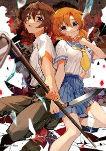 Rating: Safe Score: 16 Tags: higurashi_no_naku_koro_ni maebara_keiichi ryuuguu_rena seifuku tagme weapon User: kiyoe