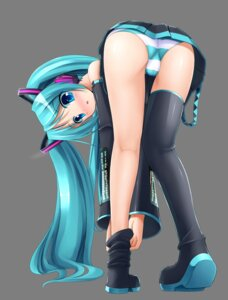 Rating: Questionable Score: 125 Tags: ass eto hatsune_miku masaki_(machisora) pantsu shimapan thighhighs transparent_png undressing vocaloid User: blooregardo
