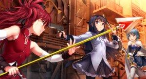Rating: Safe Score: 39 Tags: akemi_homura gun miki_sayaka moonknives pantyhose puella_magi_madoka_magica sakura_kyouko sword thighhighs weapon User: Radioactive