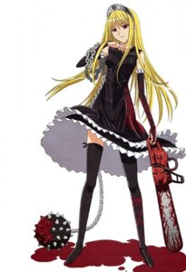 Rating: Safe Score: 30 Tags: blood chainsaw dress hime kaibutsu_oujo kuroda_kazuya thighhighs weapon User: Radioactive