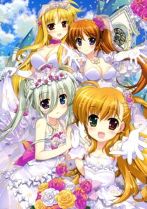Rating: Safe Score: 36 Tags: cleavage dress einhart_stratos fate_testarossa fujima_takuya heterochromia mahou_shoujo_lyrical_nanoha mahou_shoujo_lyrical_nanoha_vivid takamachi_nanoha vivio wedding_dress User: crim