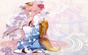 Rating: Safe Score: 63 Tags: animal_ears japanese_clothes kimono shirabi tail wallpaper User: hobbito