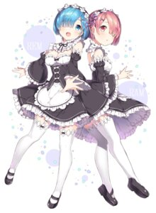 Rating: Safe Score: 88 Tags: chitetan cleavage maid ram_(re_zero) re_zero_kara_hajimeru_isekai_seikatsu rem_(re_zero) stockings thighhighs User: Mr_GT