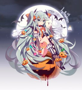 Rating: Safe Score: 39 Tags: blood halloween hatsune_miku heels horns thighhighs torn_clothes vocaloid xianguang User: Mr_GT