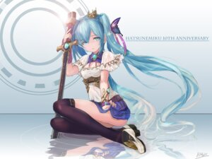Rating: Safe Score: 44 Tags: cleavage hatsune_miku heels hmax skirt_lift sword thighhighs vocaloid User: Mr_GT