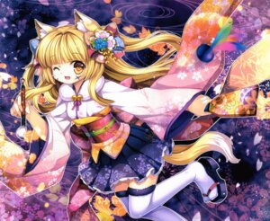 Rating: Safe Score: 32 Tags: animal_ears capura.l japanese_clothes kitsune tail thighhighs User: fairyren