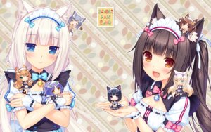 Rating: Safe Score: 61 Tags: animal_ears azuki chibi chocola cinnamon_(nekopara) cleavage coconut fishnets heterochromia maid maple_(nekopara) milk_(neko_para) minazuki_shigure nekomimi nekopara pantyhose sayori tail vanilla wallpaper User: kotorilau