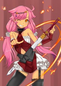 Rating: Safe Score: 31 Tags: baicha dress million_arthur_irakon_ken stockings sword thighhighs User: KazukiNanako