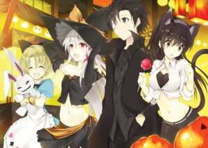 Rating: Safe Score: 52 Tags: animal_ears cleavage dress halloween nekomimi tail tousougeki_reactor witch won_(az_hybrid) User: KazukiNanako