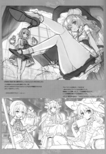 Rating: Safe Score: 16 Tags: alice_margatroid an2a kirisame_marisa line_art monochrome pantsu patchouli_knowledge sketch touhou wind_mail User: fireattack