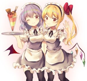Rating: Safe Score: 36 Tags: flandre_scarlet maid neno_(nenorium) remilia_scarlet thighhighs touhou waitress wings User: Mr_GT