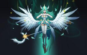 Rating: Safe Score: 25 Tags: animal_ears breast_hold dress horns league_of_legends pointy_ears soraka tagme thighhighs weapon wings User: charunetra