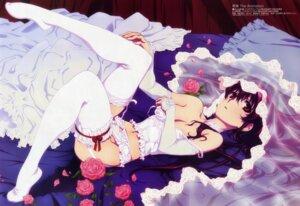 Rating: Questionable Score: 137 Tags: bleed_through breast_hold cleavage dress garter_belt kuro kurokami lingerie nishimura_hiroyuki pantsu stockings thighhighs wedding_dress User: petopeto