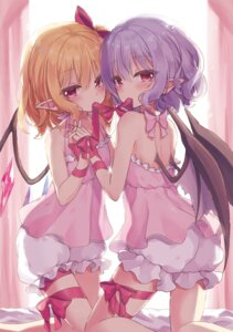 Rating: Questionable Score: 57 Tags: beni_kurage bloomers flandre_scarlet pointy_ears remilia_scarlet see_through touhou wings yuri User: yanis
