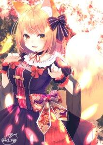 Rating: Safe Score: 53 Tags: animal_ears chita_(ketchup) dress kitsune signed tail User: RyuZU
