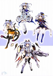 Rating: Safe Score: 33 Tags: animal_ears dress fujima_takuya gun heels kagamihara_azumi mecha_musume nekomimi tail thighhighs uniform z/x_zillions_of_enemy_x User: drop
