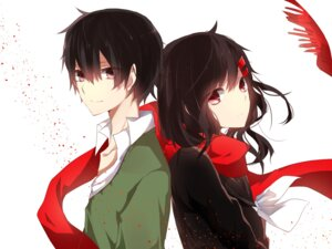 Rating: Safe Score: 20 Tags: chunnkoromochi kagerou_project kisaragi_shintarou mekakucity_actors seifuku tateyama_ayano User: sylver650