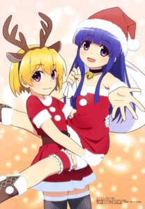 Rating: Questionable Score: 34 Tags: animal_ears christmas dress fishnets furude_rika garter higurashi_no_naku_koro_ni horns houjou_satoko loli tateishi_kiyoshi thighhighs User: drop