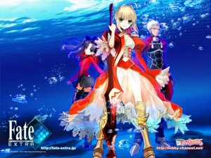 Rating: Safe Score: 38 Tags: archer fate/extra fate/stay_night saber_extra toosaka_rin type-moon wada_rco wallpaper User: fireattack