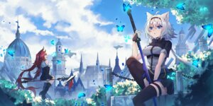 Rating: Safe Score: 14 Tags: animal_ears ashisi heels horns skirt_lift sword tagme thighhighs weapon User: Mr_GT