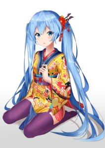 Rating: Safe Score: 65 Tags: hatsune_miku japanese_clothes nagisa_(pixiv17634981) stockings thighhighs vocaloid User: mira-pyon