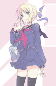 Rating: Safe Score: 32 Tags: fate/stay_night hamasin2424 saber seifuku thighhighs User: Radioactive