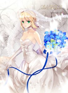 Rating: Safe Score: 56 Tags: cleavage dress fate/stay_night saber wedding_dress weed_(astarone) User: Mr_GT