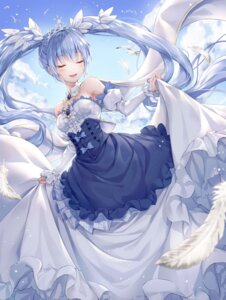 Rating: Safe Score: 56 Tags: dress hatsune_miku r_o_ha skirt_lift vocaloid yuki_miku User: Nepcoheart