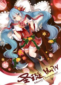 Rating: Questionable Score: 25 Tags: christmas dress hatsune_miku hnanati thighhighs vocaloid User: sym455