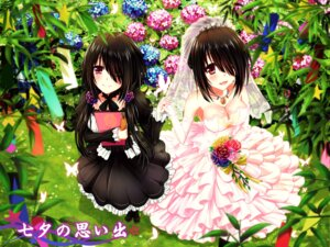 Rating: Safe Score: 53 Tags: cleavage date_a_live dress gothic_lolita heterochromia lolita_fashion no_bra tokisaki_kurumi tsubasaki wedding_dress User: Mr_GT