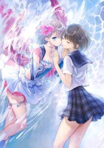 Rating: Safe Score: 46 Tags: blue_reflection garter hirahara_hiori kishida_mel seifuku skirt_lift tagme User: Dreista