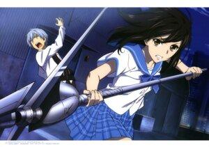 Rating: Safe Score: 10 Tags: akatsuki_kojou himeragi_yukina motomura_kouichi seifuku strike_the_blood weapon User: drop
