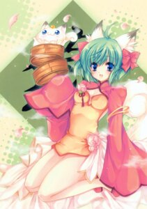Rating: Safe Score: 17 Tags: animal_ears chinadress greenwood hareko midori neko nekomimi tail User: midzki