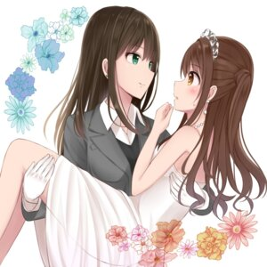 Rating: Safe Score: 41 Tags: dress mizukoshi_(marumi) no_bra see_through shibuya_rin shimamura_uzuki the_idolm@ster the_idolm@ster_cinderella_girls wedding_dress yuri User: Radioactive