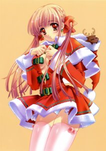Rating: Questionable Score: 35 Tags: carnelian christmas cleavage no_bra pantsu thighhighs User: charunetra